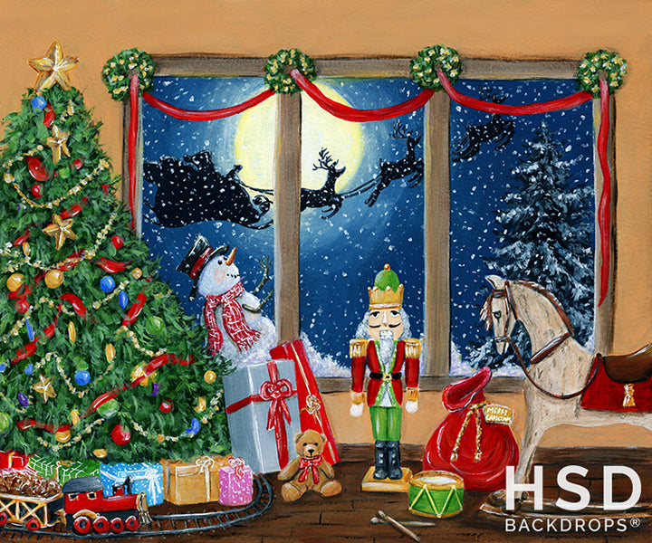 Christmas Window Painted - HSD Photography Backdrops