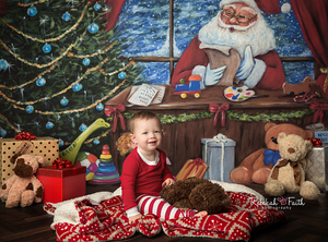 Santa's Workshop Painted photography backdrop & background