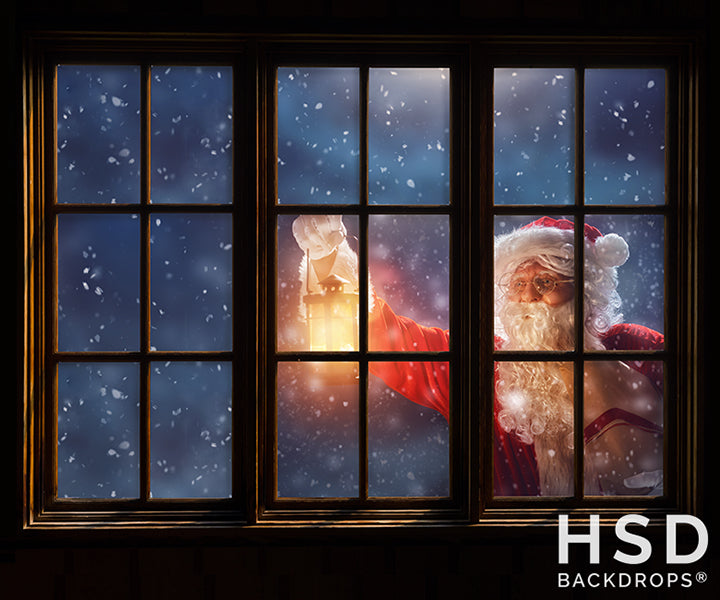 Santa Through The Window photography backdrop & background