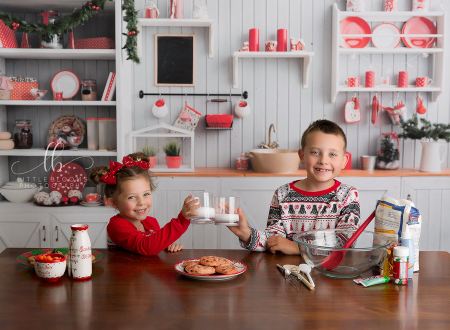 Baking Christmas Cookies in the Kitchen photography backdrop & background