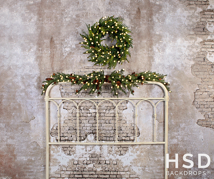 Vintage Christmas Headboard With Lights photography backdrop & background