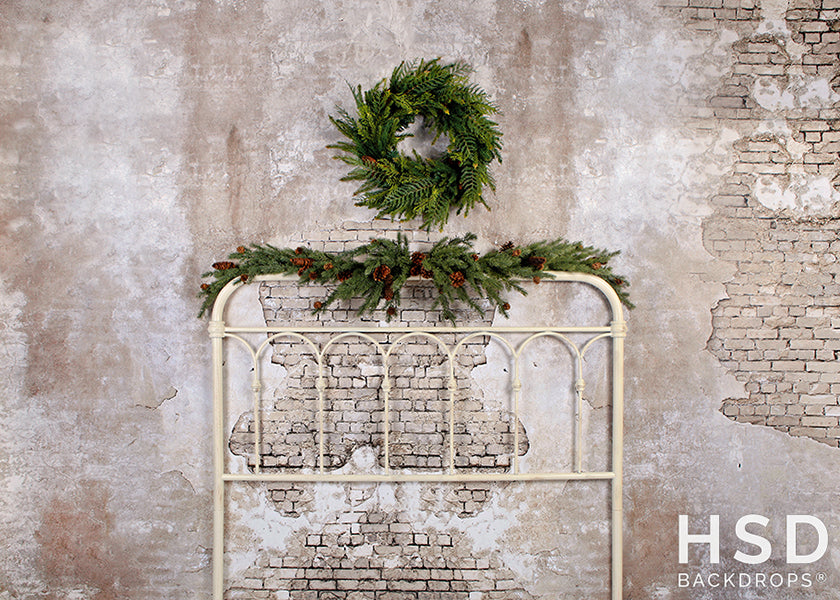 Vintage Christmas Headboard photography backdrop & background