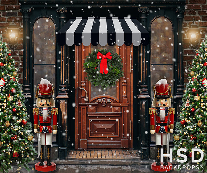 Vintage Christmas Storefront photography backdrop & background