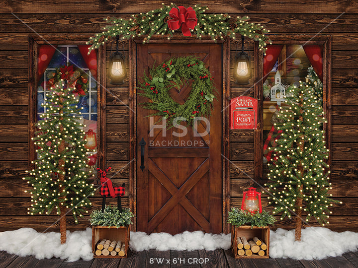 Rustic Christmas Cabin photography backdrop & background