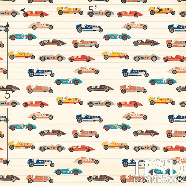 Photography Backdrop | Retro Race Cars