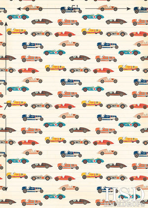 Retro Race Cars photography backdrop & background
