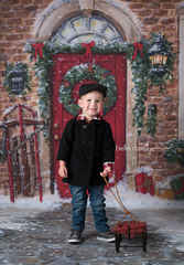 Photography Backdrop Background | Red Christmas Door
