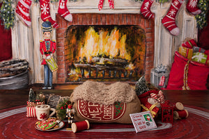 Christmas Fireplace II | Warm by the Fire Coll. | Digital - HSD Photography Backdrops