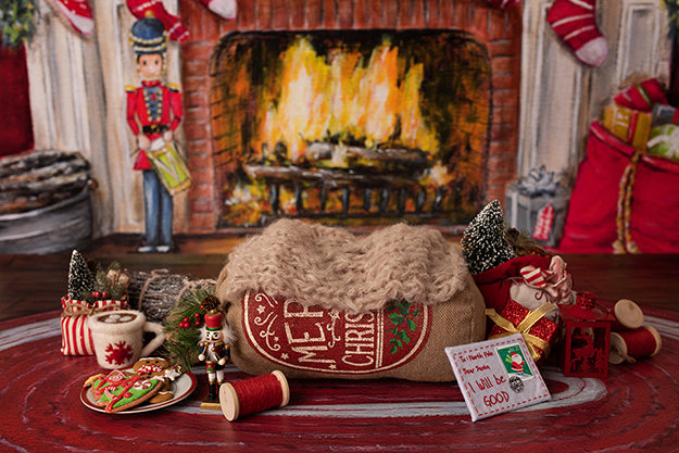 Christmas Fireplace I | Warm by the Fire Coll. | Digital photography backdrop & background