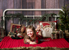 Christmas Photography Backdrop | Rustic Headboard