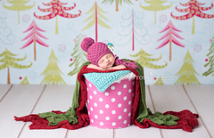 Holiday Photography Backdrop | Colorful Christmas Trees