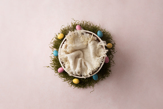 Easter Basket Cream | Easter Eggs Coll. | Digital photography backdrop & background
