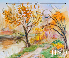 Photography Backdrop Background | Autumn in Watercolor