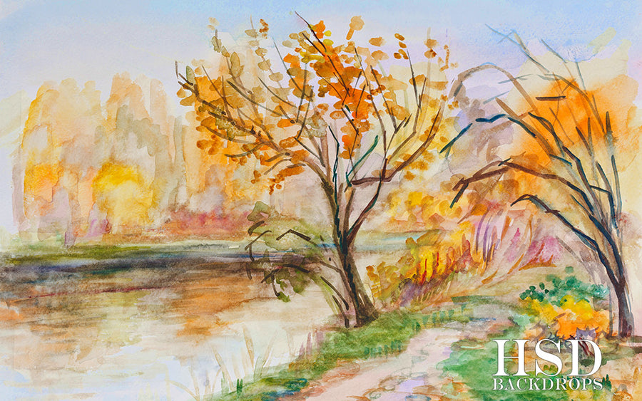 Autumn in Watercolor photography backdrop & background