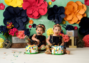 Paper Flowers Set Up photography backdrop & background