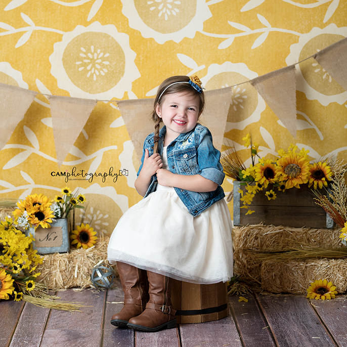 Fall Photography Backdrop Background | Sunflower Set Up