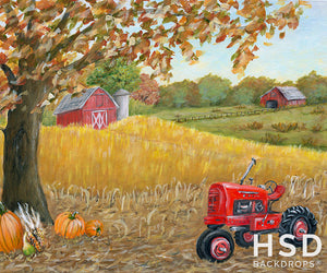 Red Tractor on the Fall Farm photography backdrop & background