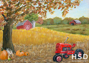 Red Tractor on the Fall Farm