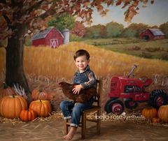 Red Tractor on the Fall Farm Backdrop