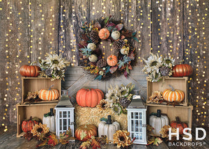 Farmers Market with Lights Fall Set Up photography backdrop & background