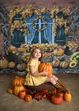 Fall Window photography backdrop & background
