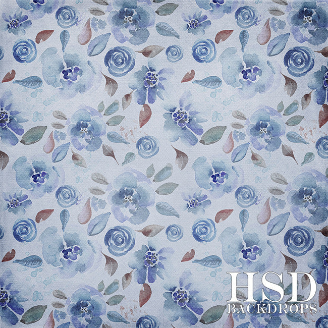 Floral Photography Backdrop Background | Indigo