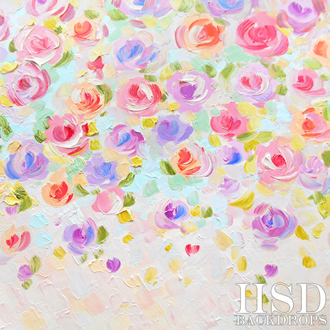 Painted Floral Photography Backdrop | Kaley