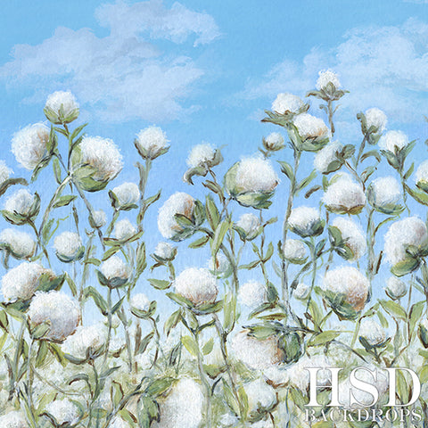 Floral Photography Backdrop Background | Cotton Fields