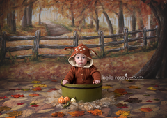 Fall Photography Backdrop Background | Covered in Leaves