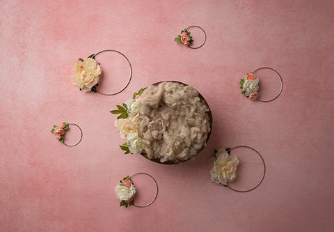 Digital Backdrop | Floral Hoops Coll. | Blush