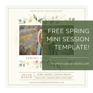Free Mini Session Template for Spring photography backdrop & background