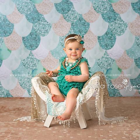 Photography Backdrop | Teal Mermaid Tail