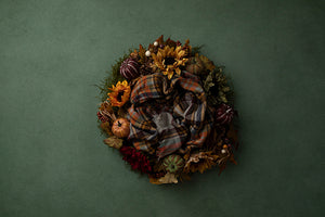 Harvest Wreath Green | Autumn Plaid Coll. | Digital photography backdrop & background