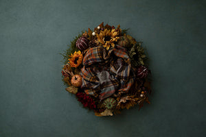 Harvest Wreath Jade | Autumn Plaid Coll. | Digital photography backdrop & background