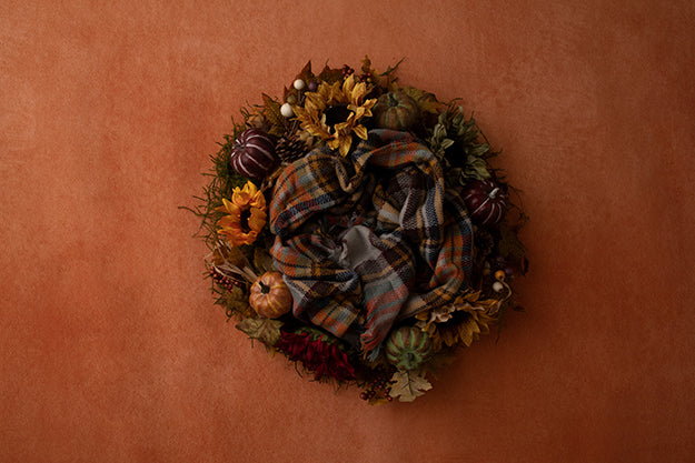 Digital Backdrop | Burnt Orange Autumn Coll. | Harvest Wreath