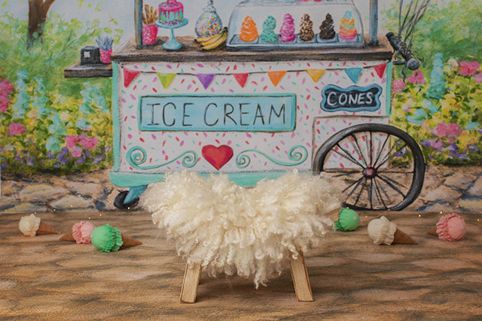 Newborn Digital Backdrop | Ice Cream Cart photography backdrop & background