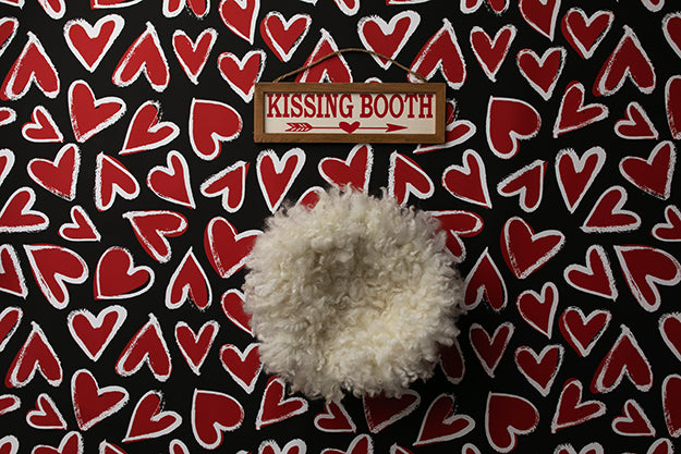 Newborn Digital Backdrop | Kissing Booth Hearts photography backdrop & background