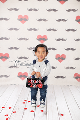 Valentine's Photography Backdrop | Mustache Hearts