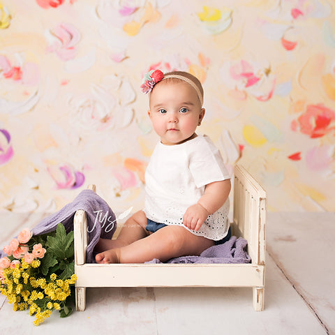 Painted Floral Photography Backdrop | Lizzy