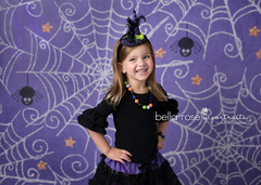 Halloween Photography Backdrop | Caught in My Web Purple