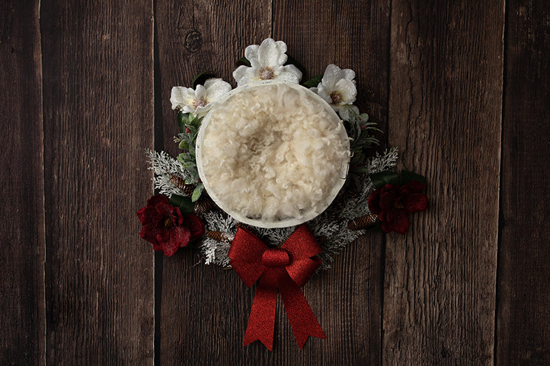 Red Christmas Bow II | Digital photography backdrop & background