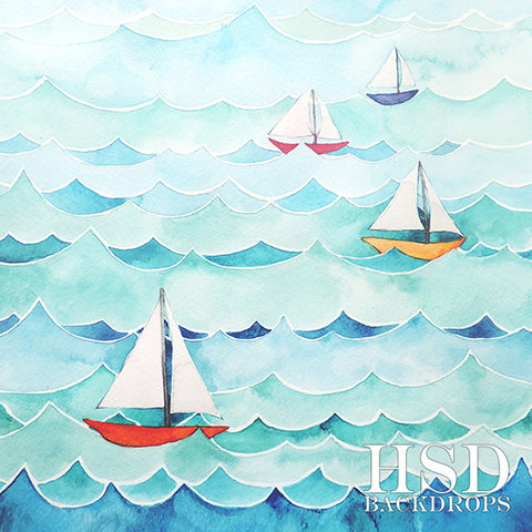 Photography Backdrop | Ocean Sailboats