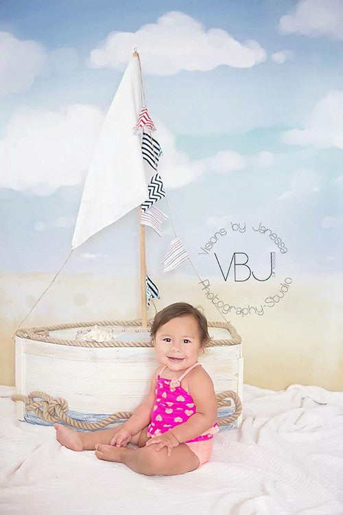 Watercolor Beach photography backdrop & background