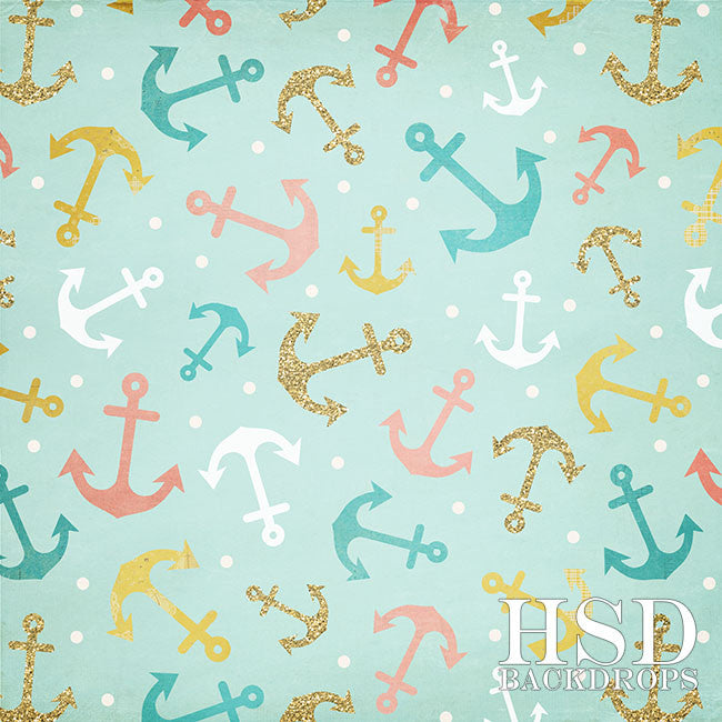 Anchors Away Girl photography backdrop & background