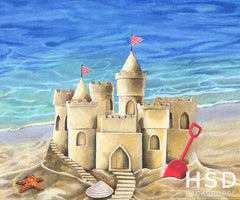 Summer Photography Backdrop Background | Sand Castle