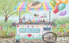 Photography Backdrop Background | Ice Cream Cart