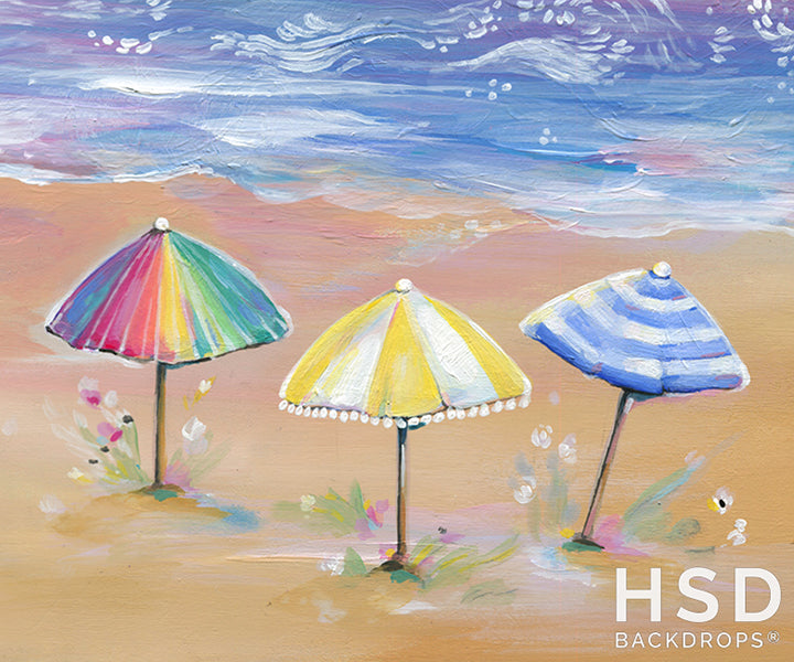 Beach Umbrellas photography backdrop & background