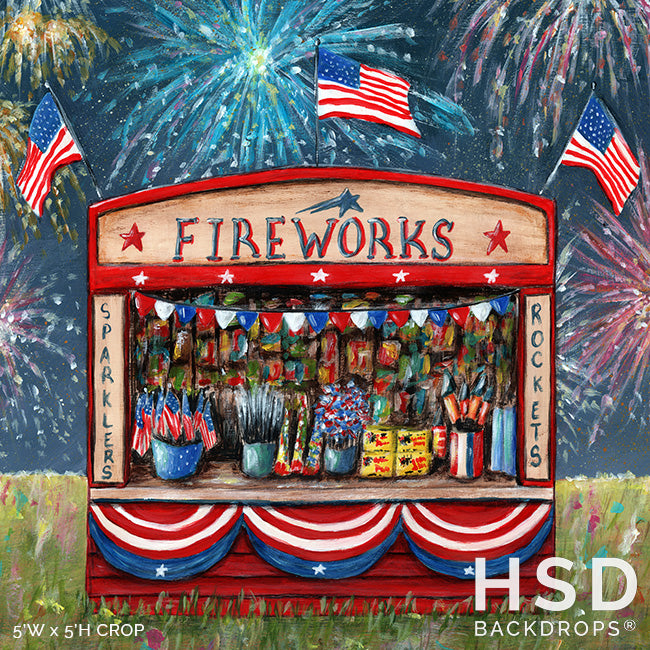 Vintage Fireworks Stand photography backdrop & background