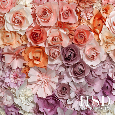 Photography Backdrop Background | Pastel Paper Flowers