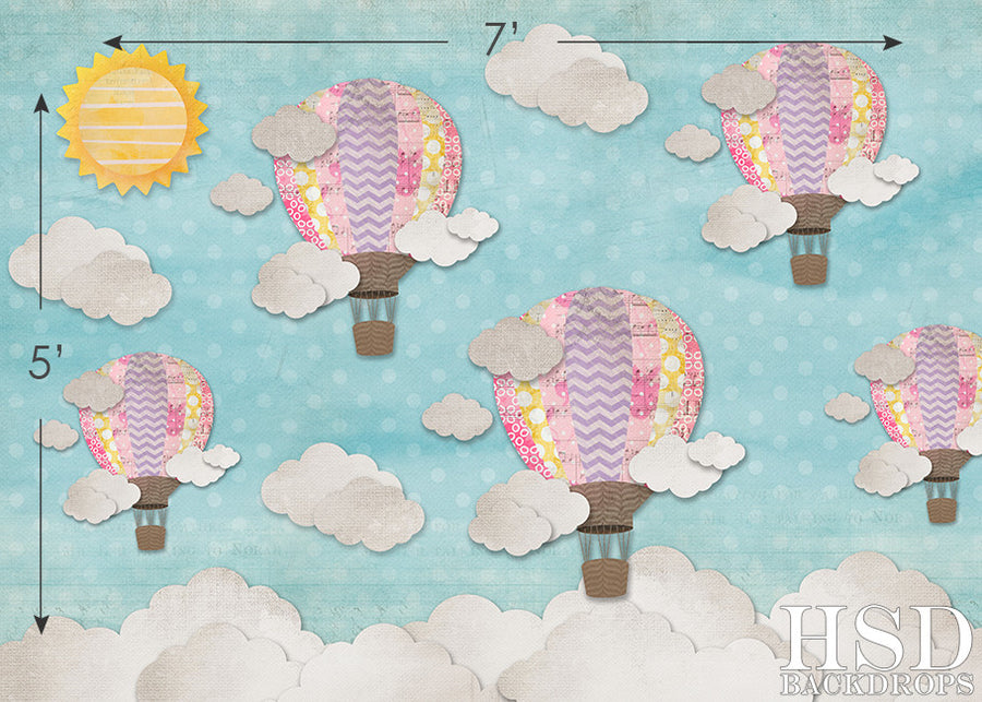 Hot Air Balloons Girl photography backdrop & background